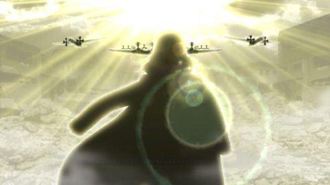明るい背景で上空を5機の戦闘機が飛ぶ演出が発生した際に星6隊員が出現しました。