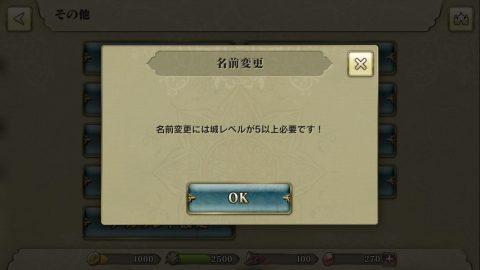 ユーザー名は城レベル5になるまで変更できません。