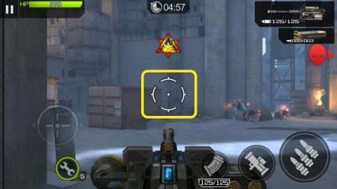 照準が常に中心に来るように機関銃が向きを変えます。