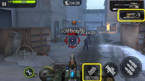 機関銃のリロードはいつも通り、ロケット砲のリロードは画面右上から行います。