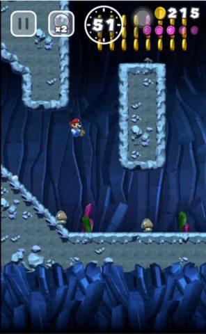 4枚目のピンクコインもも下り坂から壁キックで回収します。