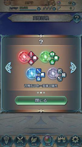 召喚石の色がキャラクターの属性に対応しています。