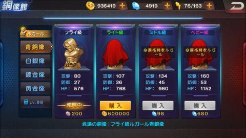 銅像館ではキャラクター毎に素材5種×4段階の銅像が販売されています。