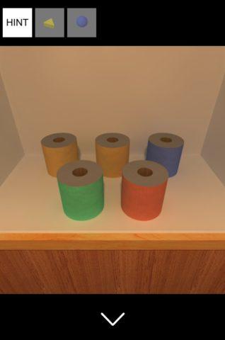 ▲トイレットペーパーの色と配置を確認します
