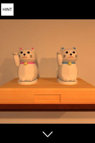 ▲画面左上の棚に招き猫を置きます