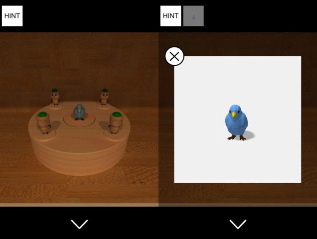 ▲人形を暖簾の三角形に合わせ、青い鳥を入手します