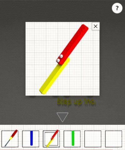 赤と黄色の棒にプラスドライバーを使う