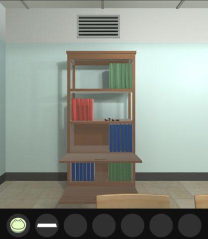 ボタンは後面の本棚の本に対応