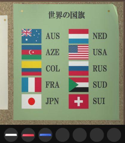 RUSの国旗の並びを確認