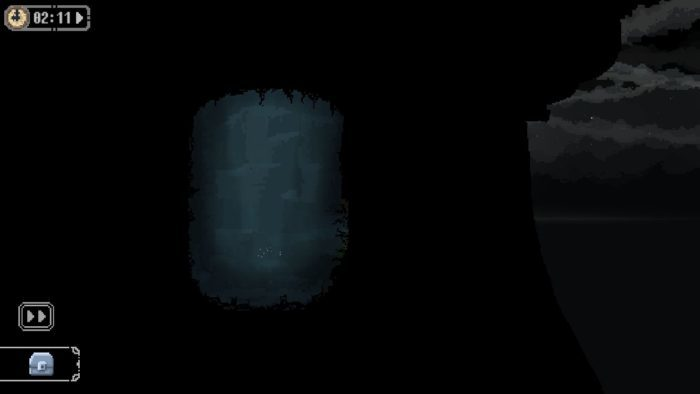 泉内部の右下ののほうに洞窟へと続く道がある