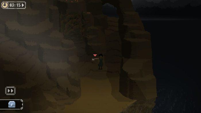 岩場に落ちている斧を拾う