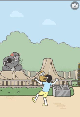 右の岩山でゴリラを手に入れるまでは「カードNo.075 ゴリラの宴」と同じ手順です。